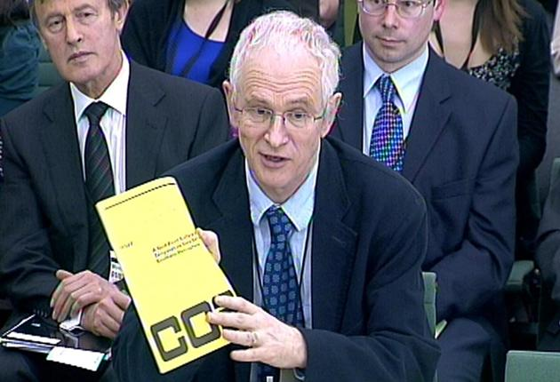 Professor Phil Jones appears before the Science and Technology Committee in Westminster yesterday