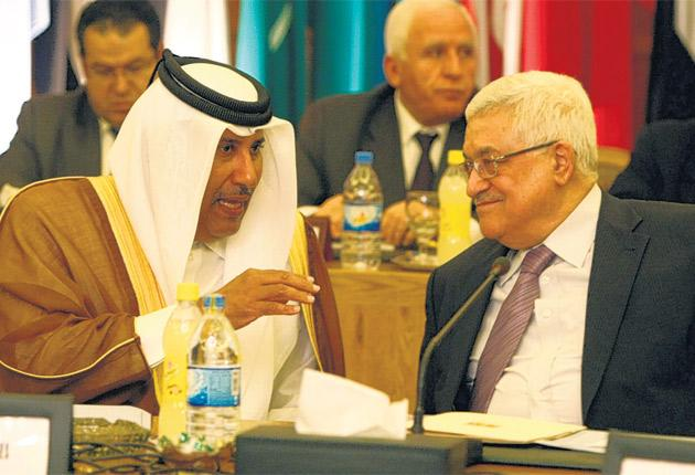 Mahmoud Abbas, right, the Palestinian President, and Qatar's Foreign Minister, Hamad bin Jasim, in Cairo this week