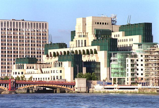 The headquarters of Britain's Secret Intelligence Service, MI6, on the south bank of the river Thames near Vauxhall Bridge