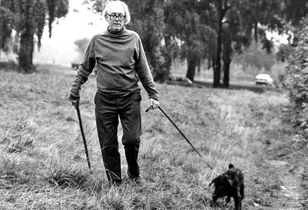 Michael Foot walking his dog in 1978