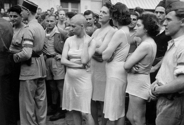 In early 1945, French women who were accused of collaborating with the Germans were stripped down to their underwear and had their heads shaved as part of their public humiliation