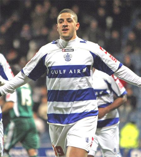 Adel Taarabt of Queens Park Rangers celebrates after putting Neil Warnock's side ahead against Plymouth Argyle at Loftus Road last night
