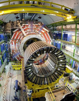 The magnet core of the world's largest superconducting solenoid magnet, built for an experiment at the Large Hadron Collider in Cern. The Collider must close at the end of 2011 for up to a year for scientists to fix design and safety issues