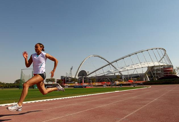Jessica Ennis trains at the Aspire Dome in Doha yesterday