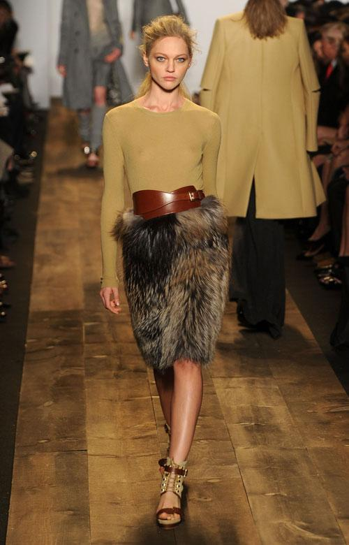 A model wears designs from Michael Kors Fall 2010 collection during Mercedes-Benz Fashion Week in New York