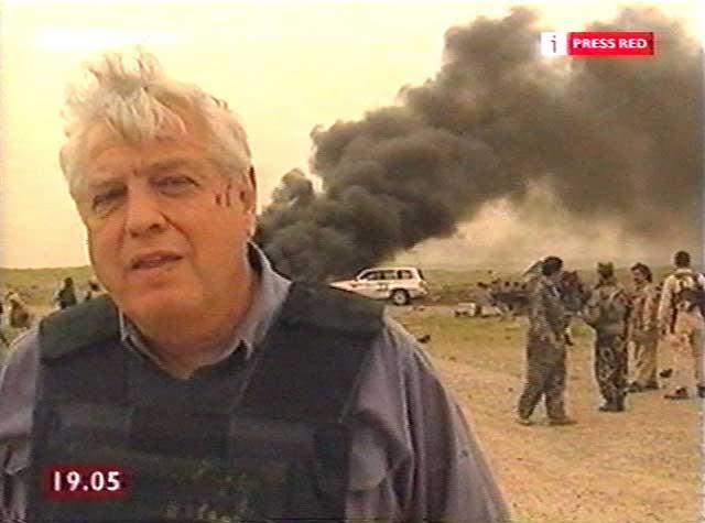 John Simpson reporting after a bomb was dropped on a convoy of US and Kurdish forces killing up to 18 people and injuring at least 45 others in northern Iraq in 2003