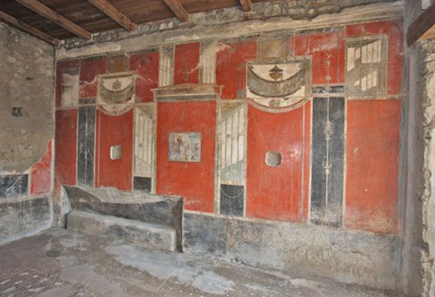 The the triclinium, or dining area, in Pompeii.