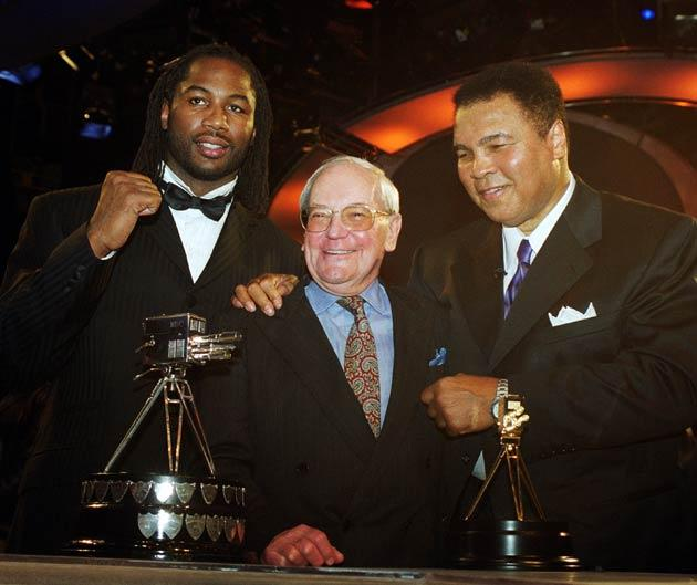 Harry Carpenter pictured in 1999 with boxing greats Lennox Lewis and Muhammad Ali