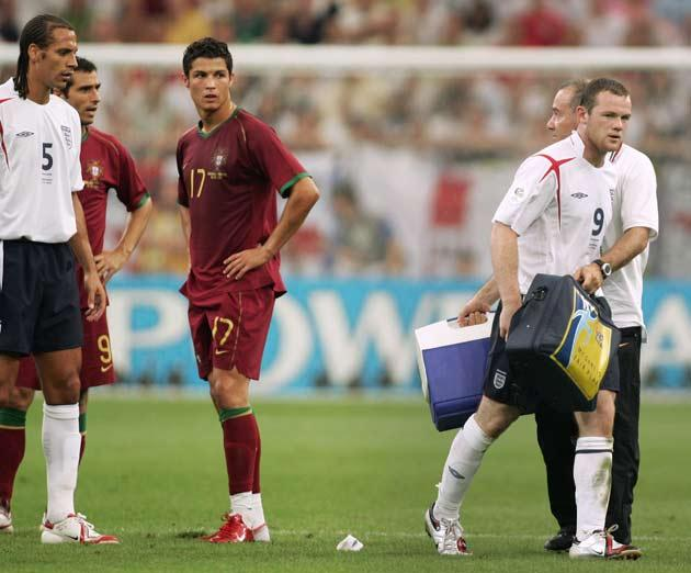 <b>81. CRISTIANO RONALDO</b><br/> Great friends off the pitch they may be, but at the 2006 finals, Cristiano Ronaldo could not help but show his delight when Wayne Rooney was sent off. England's talisman was rightly shown the red card in the quarter-final