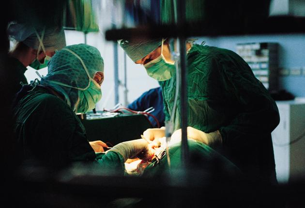 A surgical procedure at a hospital
