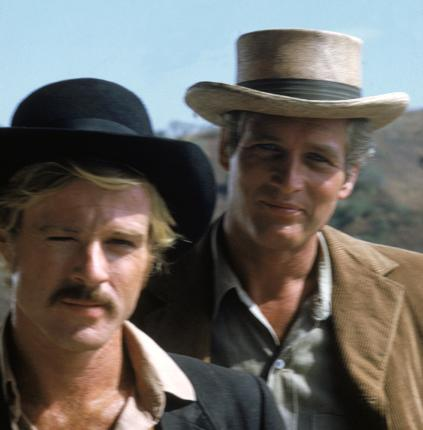 Robert Redford as The Sundance Kid and Paul Newman as Butch Cassidy in the 1969 film