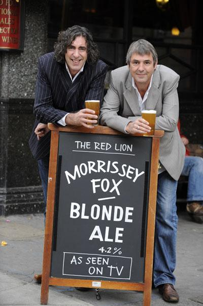 Seeing double: Neil Morrissey (right) and Richard Fox began their brewing careers experimenting with the flavour of homebrew they made in their kitchen