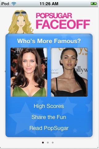 'PopSugar Celebrity Faceoff' iPhone app