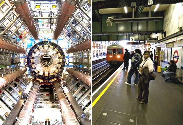 Cern believes it can build a successor to the Large Hadron Collider (left) within the Circle line (right) by 2020