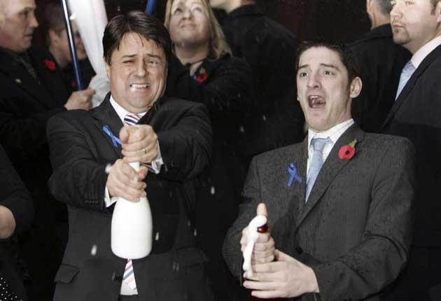 BNP leader Nick Griffin and Mark Collett celebrate after a court victory in 2006
