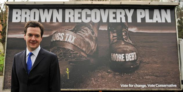 Conservative Shadow Chancellor of the Exchequer George Osbourne attends the launch of the latest Conservative Party poster. The poster highlights the Conservative's claim that Labour finance plans will crush new businesses through taxation.