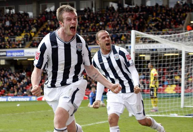 West Brom's Chris Brunt celebrates scoring his sides first goal of the game yesterday