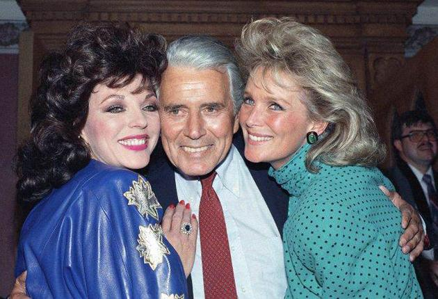 Forsythe with Joan Collins, left, and Linda Evans, at a party in 1986 celebrating the 150th episode of 'Dynasty'