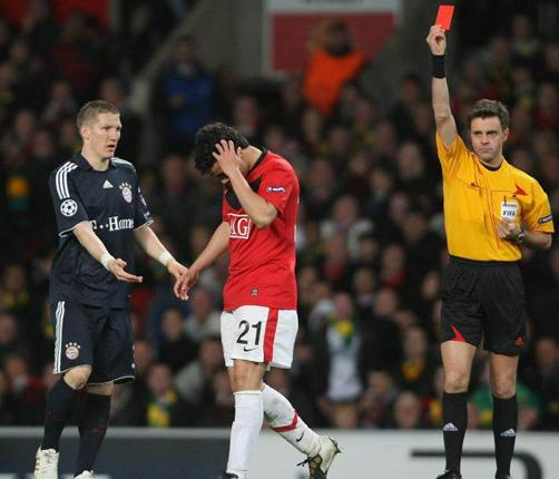 Rafael da Silva is sent off for Manchester United at Old Trafford on Wednesday