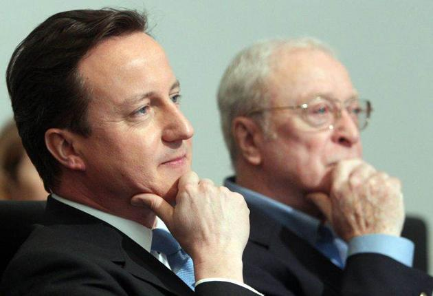 David Cameron and Sir Michael Caine at the launch of the National Citizen Service at the Conservatives' HQ