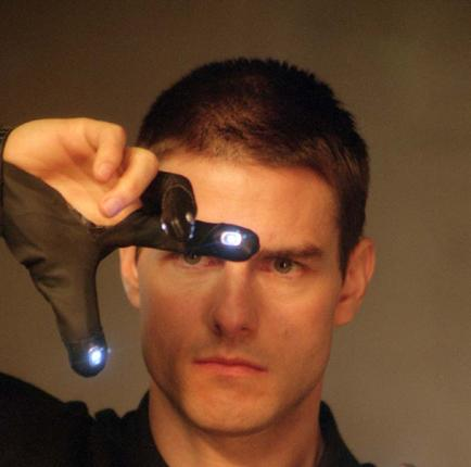 Tom Cruise in a scene from Minority Report, which featured personalised advert techniques