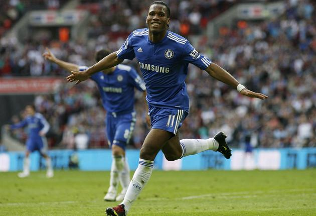 Didier Drogba celebrates after breaking the deadlock at Wembley
