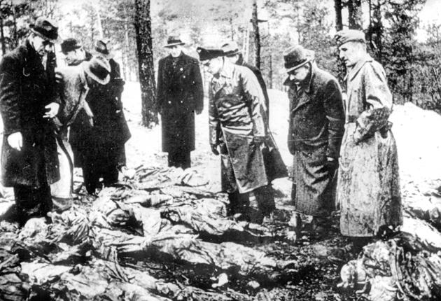 'Independent witnesses' were brought in by the occupying Nazis to see the mass graves found at Katyn in 1943. Russia, by then allied with Britain and the US, would for years blame the killings on the Nazis