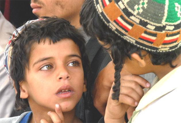 Displaced Yemeni Jewsat a temporary residence in Sana'a