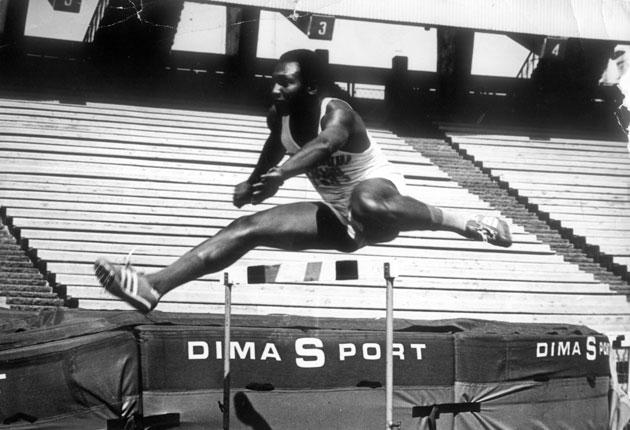 Columba Blango in action in the hurdles: 'It was my best event but I wasn't very good at field events'