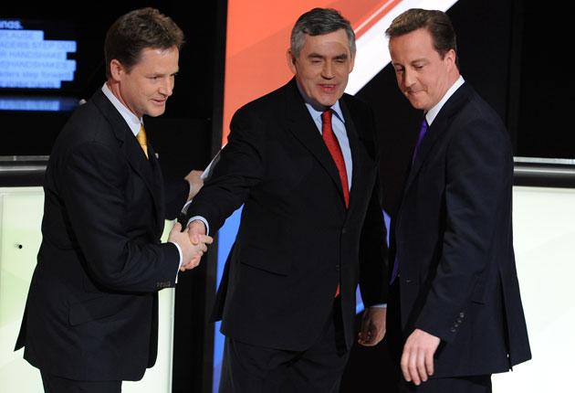 Nick Clegg, Gordon Brown and David Cameron shake hands after last week's second televised election debate