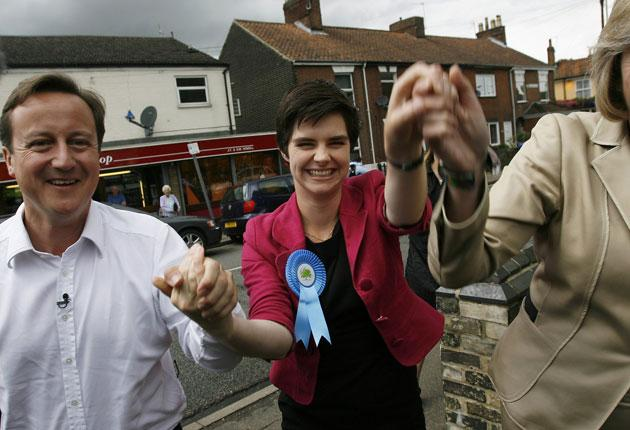 Chloe Smith with David Cameron after her win in the Norwich by-election last year