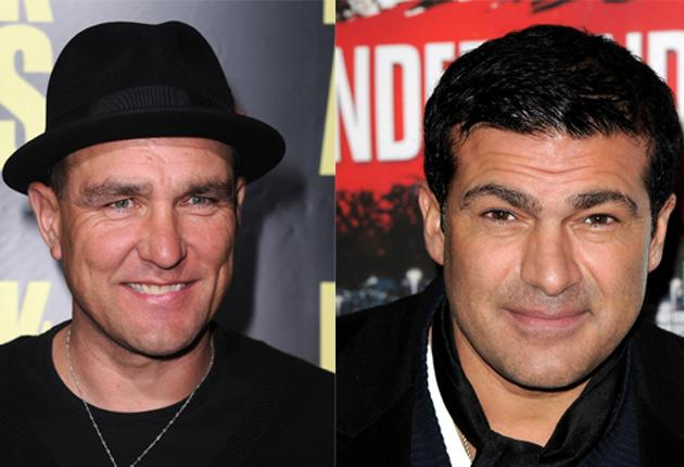 Footballer-turned-actor Vinnie Jones (left) was left nursing bruises after he came to blows with fellow British movie hardman Tamer Hassan (right) when they met in a Hollywood hotel.