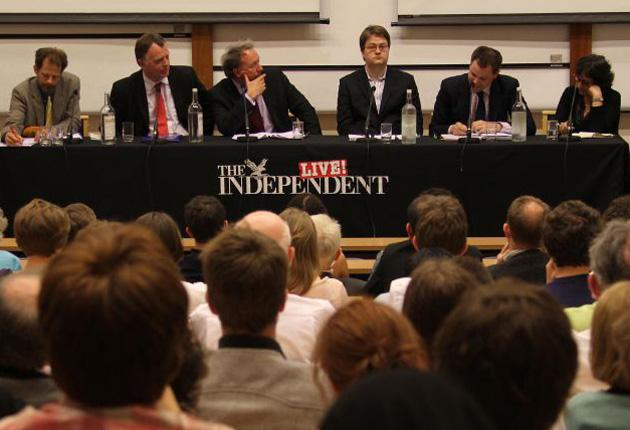 Steve Goddard, Andrew Smith, Steve Richards, Johann Hari, Ed Argar and Yasmin Alibhai-Brown during the debate at Oxford's Museum of Natural History