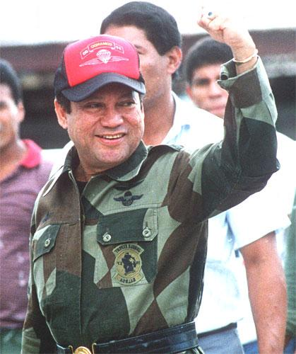 Panama's Manuel Noriega after a failed coup in 1989