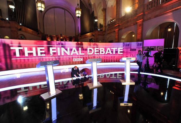 Preparing the stage for the final election debate, on the economy,  yesterday in the Great Hall of Birmingham University