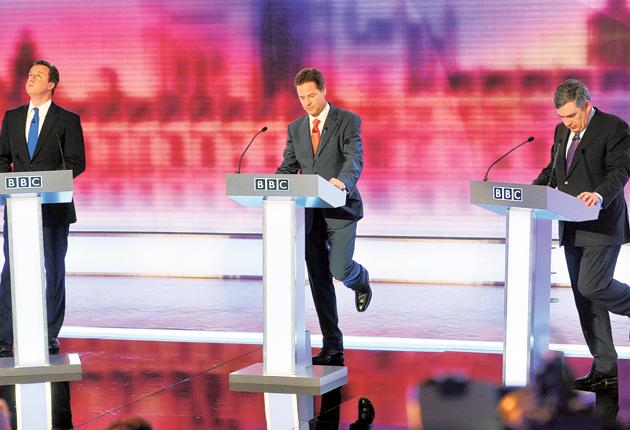 David Cameron, Nick Clegg and the Prime Minister Gordon Brown during the final leaders' election debate