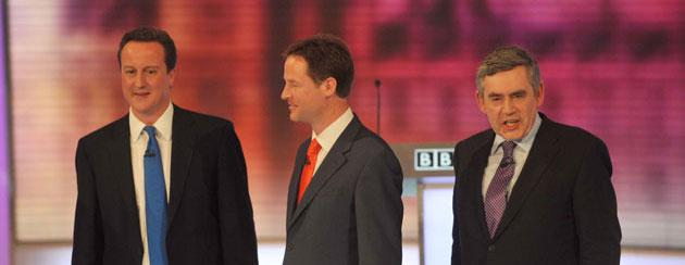 Conservative Party leader David Cameron (L), Liberal Democrat leader Nick Clegg (C) and Prime Minister Gordon Brown take part in the third and final leaders' debate at the University of Birmingham