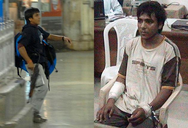 Ajmal Kasab, filmed as he took part in the attack on the city's main train station, left, and, right, in custody