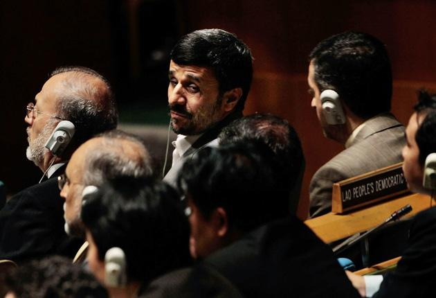 The Iranian President Mahmoud Ahmadinejad, top, prior to addressing the NPT Review Conference