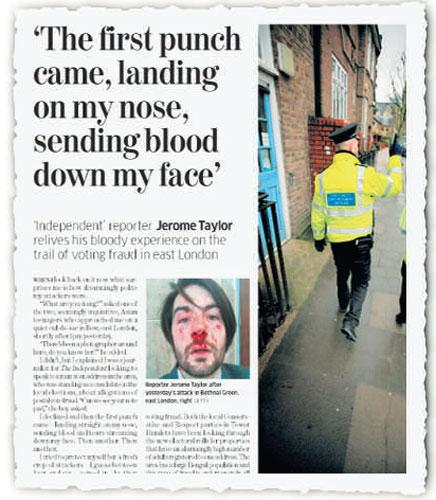 How Jerome Taylor reported his ordeal in yesterday's Independent