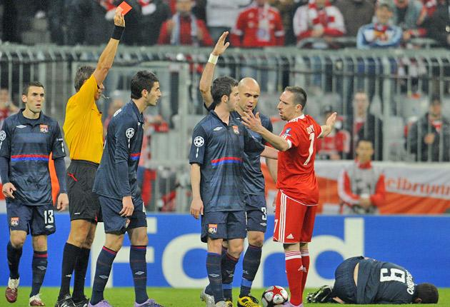 Ribery is shown a red card against Lyons last month