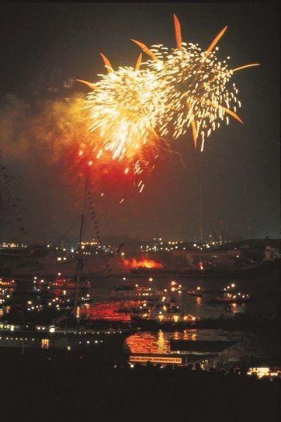 Fireworks explode over the Port of Hamburg