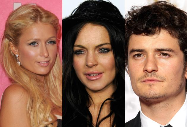 The gang robbed, from left, Paris Hilton, Lindsay Lohan and Orlando Bloom.