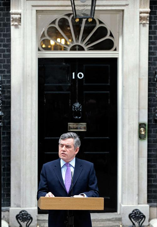 Gordon Brown on Friday, declaring himself willing to talk to anyone to bring about stable government