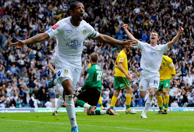 Jermaine Beckford gives Leeds fans plenty to shout about with a promotion-earning winner at Elland Road on Saturday
