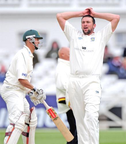Steve Harmison looks frustrated as Durham struggle against Nottinghamshire