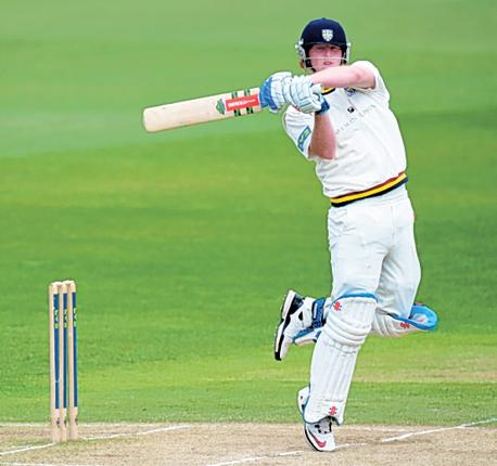 Durham's Ben Stokes hits out on the way to his maiden century of 106 at Trent Bridge yesterday