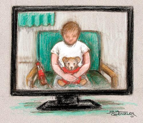 An artist's drawing of girl giving evidence at the Old Bailey yesterday
