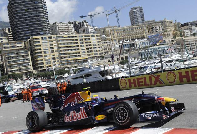 Australian Mark Webber in his Red Bull during the first practice session at this year's Monaco Grand Prix