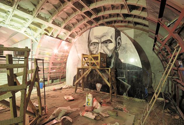 One of the Dostoevsky murals in the new Moscow metro station that critics say would encourage disturbed people to commit suicide. The opening has been delayed